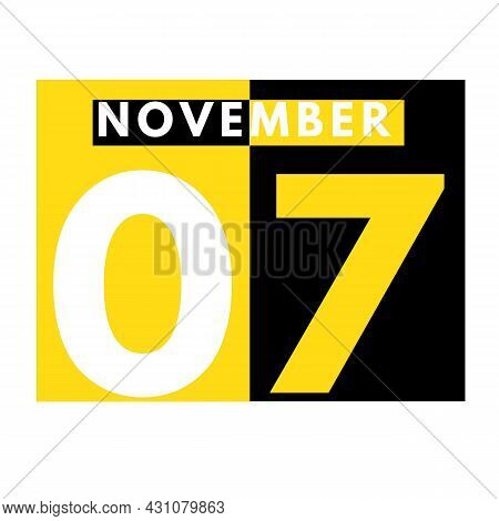 November 7 . Modern Daily Calendar Icon .date ,day, Month .calendar For The Month Of November