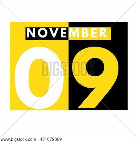 November 9 . Modern Daily Calendar Icon .date ,day, Month .calendar For The Month Of November
