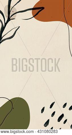 Abstract earth tone Memphis mobile phone wallpaper illustration