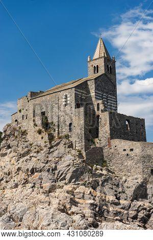 Headland In Portovenere Or Porto Venere With The Medieval Church Of San Pietro (st. Peter, 1198), Un