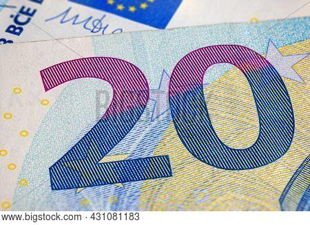 Twenty Euro Banknote Fragment Macro. Closeup Photo Of A Part Of The New Twenty Euro Note. Money Of T