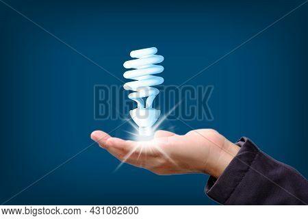 Idea Innovation And Inspiration Concept.hand Holding Illuminated Light Bulb, Concept Creativity, Ins