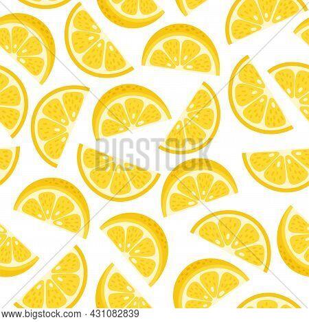 Cute Vector Lemon Hand Drawn Seamless Pattern. Cartoon Tropical Fruit Slice, Fresh Yellow Sliced Lem