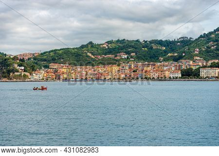 The Small Village Of San Terenzo Seen From The Sea, Gulf Of La Spezia, Municipality Of Lerici, Medit
