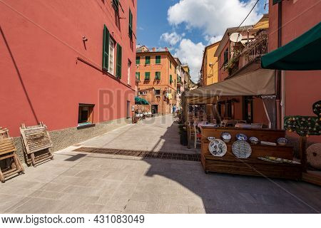 Street In Downtown Of Monterosso Al Mare Village With Shops And Restaurants, Tourist Resort In Cinqu