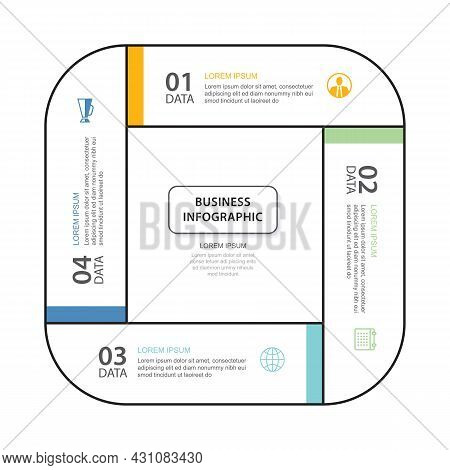 4 Data Infographics Tab Thin Line Index Template. Vector Illustration Abstract Square Infographic Ba