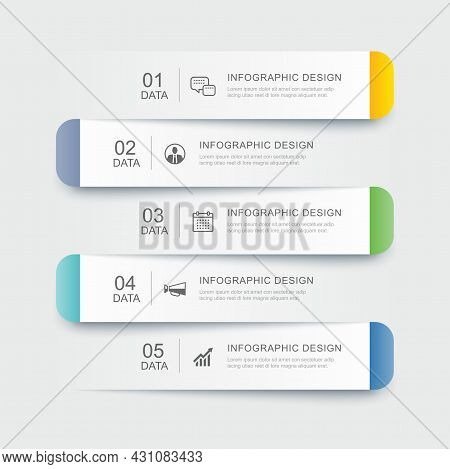 5 Data Infographics Tab Paper Index Template. Vector Illustration Abstract Background.