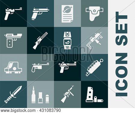 Set Gun Magazine And Bullets, Trap Hunting, Mp9i Submachine Gun, Firearms License Certificate, Hunti