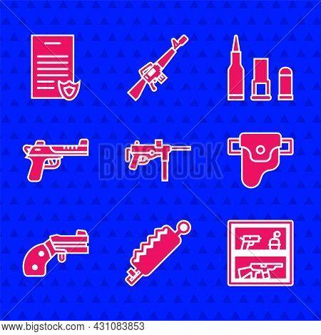 Set Submachine Gun M3, Trap Hunting, Hunting Shop Weapon, Gun Holster, Small Revolver, Desert Eagle,