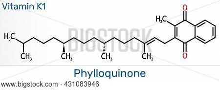 Phytomenadione, Vitamin K1, Phylloquinone Molecule. It Is Essential Fat Soluble Vitamin, Is Importan