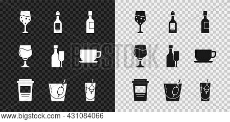 Set Glass Of Champagne, Champagne Bottle, Coffee Cup To Go, Cocktail Bloody Mary, Wine Glass And Wit