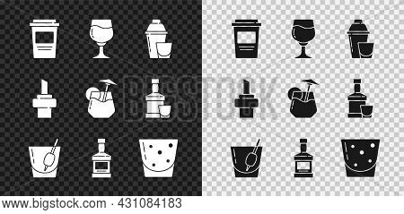 Set Coffee Cup To Go, Wine Glass, Cocktail Shaker, Bloody Mary, Whiskey Bottle, Glass Rum, Wooden Co