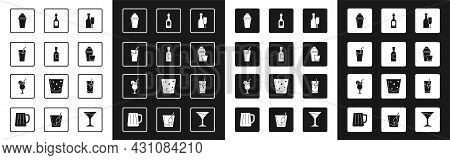 Set Wine Bottle With Glass, Champagne, Glass Of Juice, Cocktail Shaker, Bloody Mary And Icon. Vector