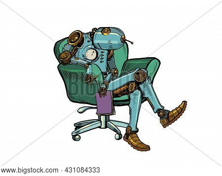 The Robot Psychotherapist Is Sleeping In A Chair. Fatigue At Work. Notebook In Hand