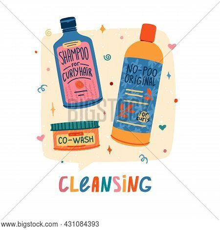 Llustration Of Cosmetics For Curly Hair. Curly Girl Method. Bottle Shampoo, Co-wash For Cleansing Ha