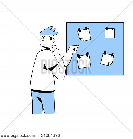 Thoughtful Man Touches Chin. Board With Papers. Reminders And Stickers. Difficult Choice. Planning A