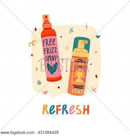 Illustration Of Cosmetics For Curly Hair. Curly Girl Method. Bottle Spay And Foam For Refresh Hair.