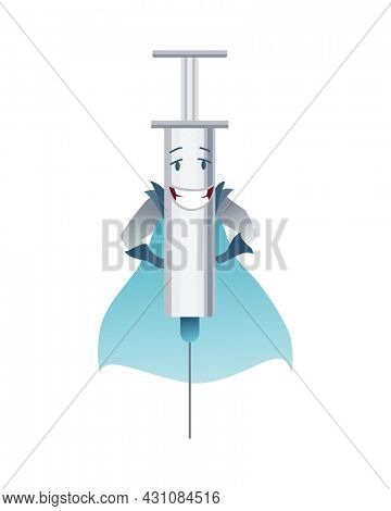 Pills super hero. Cute cartoon character with smiled face. Syringe like a superman with a cloak. Medicinal strong help