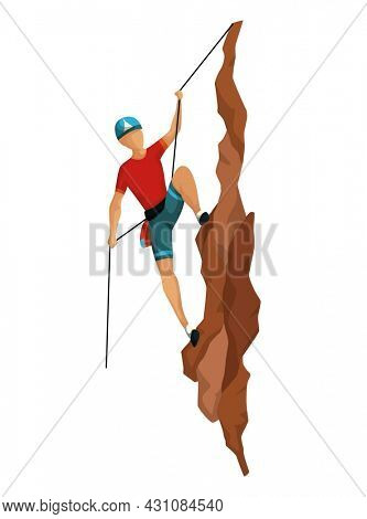 Mountain climbing. Men climbing on a rock mountain with professional equipment. Bouldering sport. Game scene isolated on white background
