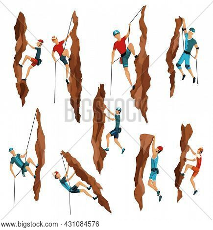 Mountain climbing. Mens climbing on a rock mountain with professional equipment. Bouldering sport. Game scene isolated on white background