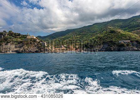 Monterosso Al Mare Village Seen From The Mediterranean Sea, Cinque Terre National Park In Liguria, L