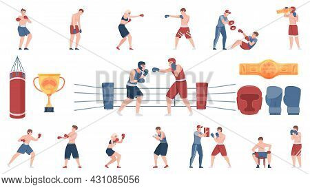 Boxing Flat Colored Icons Set Of Sportsmen Instructors Equipment And Award Cup Isolated Vector Illus