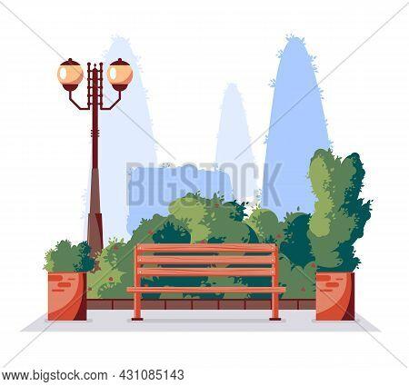 City Park Summertime Flat Background Element With Bench Lantern Decorative Planters Bushes Shrubs Gr