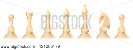 Chess figures  set. King, queen, bishop, knight or horse, rook and pawn - standard chess pieces. Strategic board game for Intellectual leisure. White items