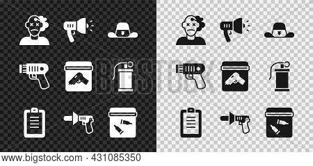 Set Murder, Police Megaphone, Sheriff Hat With Badge, Report, Evidence Bag Bullet, Electric Shocker