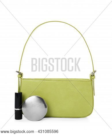 Stylish Baguette Bag With Pocket Mirror And Lipstick On White Background