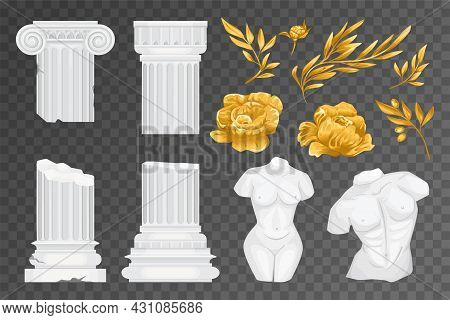 Antique Greek Flowers Transparent Icon Set White Columns Two Torsos And Golden Olive Branches And Fl
