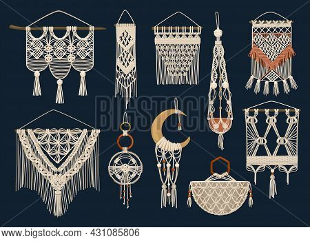 Colored And Isolated Handcrafted Macrame Icon Set Handmade Dream Catchers Home Decorations Napkins V