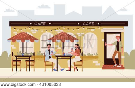A Couple Drinking Wine On The Summer Terrace Of A Cafe Flat Vector Illustration