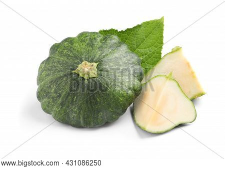 Whole And Cut Green Pattypan Squashes With Leaf On White Background