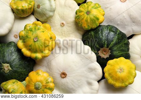 Fresh Ripe Pattypan Squashes As Background, Top View