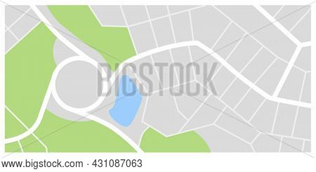 City map. Town streets with green line park and river. Downtown gps navigation plan, abstract transportation urban in . Drawing town small road map. Urban pattern texture