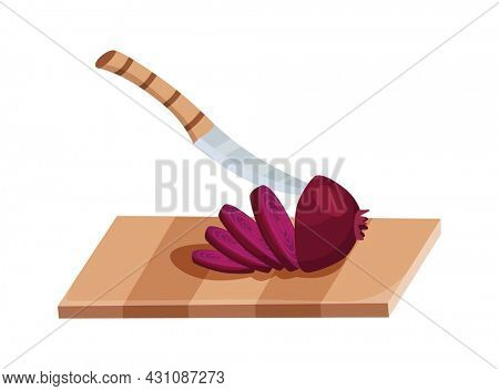 Sliced vegetable. Slicing onion by knife. Cutting on wooden board isolated on white background. Prepare to cooking. Chopped fresh nutrition in cartoon flat style