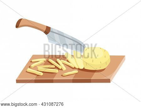Sliced vegetable. Slicing potato by knife. Cutting on wooden board isolated on white background. Prepare to cooking. Chopped fresh nutrition in cartoon flat style