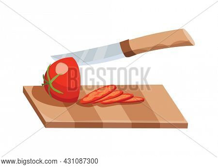 Sliced vegetable. Slicing tomato by knife. Cutting on wooden board isolated on white background. Prepare to cooking. Chopped fresh nutrition in cartoon flat style