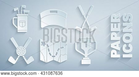 Set Golf Course Layout, Crossed Golf Club, With Ball, Award Cup, Sun Visor Cap And Bag Clubs Icon. V