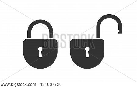 Lock Closed And Lock Open Graphic Icons. Locks Signs Isolated On White Background. Symbols Security