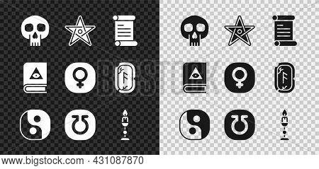 Set Skull, Pentagram, Decree, Parchment, Scroll, Yin Yang, Life, Burning Candle, Ancient Magic Book