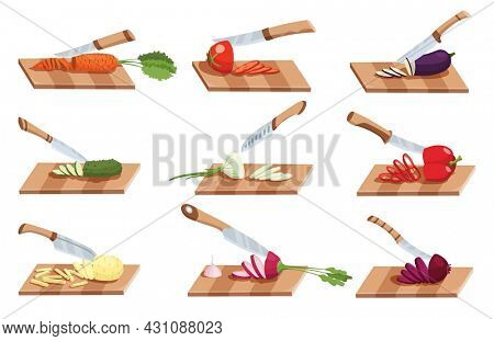 Collection of sliced vegetable. Slicing by knife. Cutting on wooden board isolated on white background. Prepare to cooking. Chopped fresh nutrition in cartoon flat style