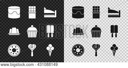 Set Cake, Chocolate Bar, Piece Of Cake, Donut, Lollipop, Ice Cream In Waffle Cone, Jelly And Icon. V