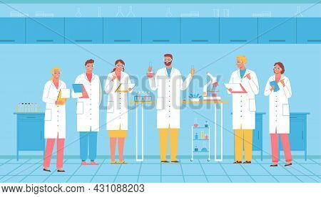 Meeting Of Scientists With Lead Scientist In Laboratory Flat Vector Illustration