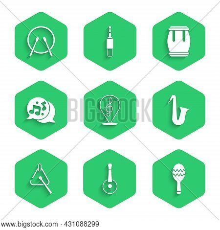 Set Treble Clef, Banjo, Maracas, Musical Instrument Saxophone, Triangle, Note, Tone, Drum And And Dr