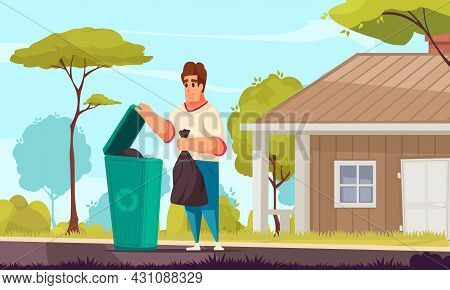 Daily Routine Cartoon Vector Illustration With Man Taking Out Trash From His Country House