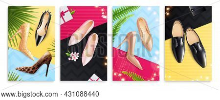 Casual Formal Festive Classic Men Women Shoes 4 Realistic Colorful Palm Fronds Background Advertisin
