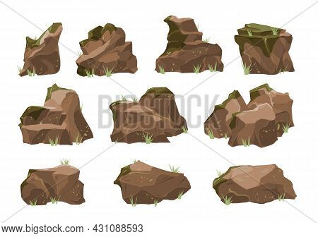 Decorative And Natural Rocks With Moss And Light Foliage 10 Realistic Isolated Elements Set Vector I