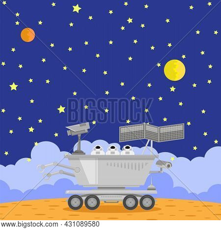 Lunar Rover Icon Isolated On Cosmic Background. Robotic Space Vehicle For Investigation,study, Resea